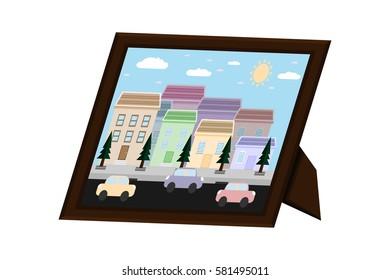 desktop frame picture city landscape.vector and illustration