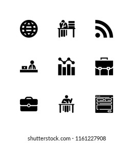 desktop icon. 9 desktop set with blog, portfolio, design and graphic vector icons for web and mobile app