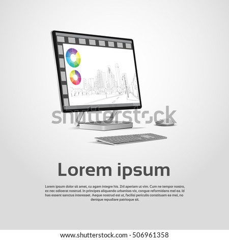 desktop logo modern computer workstation icon stock vector royalty