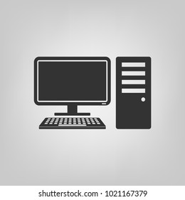 desktop pc computer icon, simple solid flat symbol isolated on gray background - vector illustration
