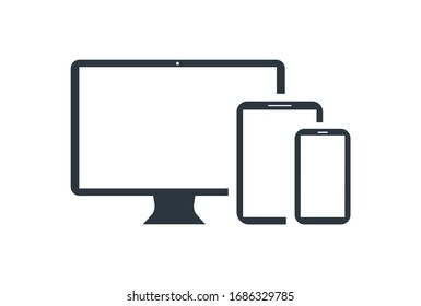 Desktop With Phone And Tablet icon vector