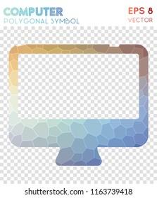 Desktop polygonal symbol, alive mosaic style symbol. Uncommon low poly style, modern design.
