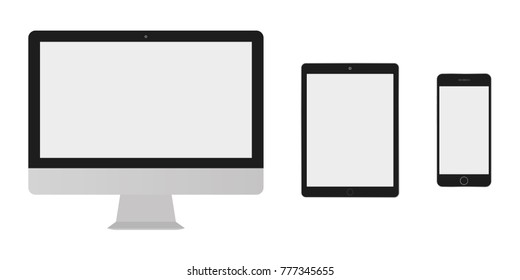 Desktop screen computer, tablet with grey screen and smartphone with empty screen set vectro eps10. Tablet, desktop monitor computer and smartphone free screen icon.