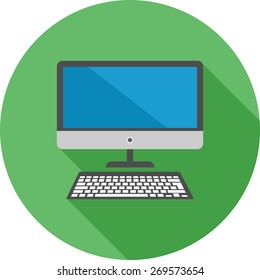 Desktop, screen, keyboard, display icon vector image. Can also be used for communication, connection, technology. Suitable for web apps, mobile apps and print media.