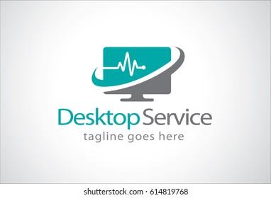 Desktop Service Logo Template Design
