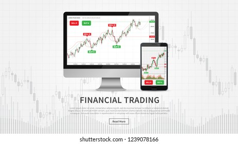 Desktop and smartphone with financial trade charts vector illustration. Candlestick trading graph (forex market) webpage concept.