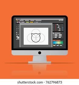 desktop vector. computer artist on desk. professional photo editor work. graphic image software icon. flat design vector illustration.