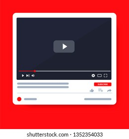 Desktop Video player youtube. PC social media interface. Play video online mock up. Subscribe button. Tube window with navigation icon. Vector illustration.