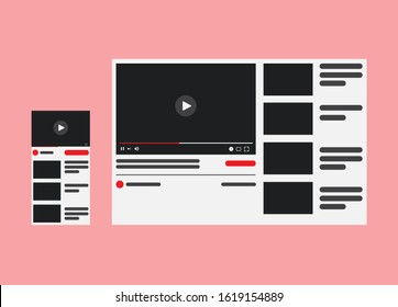 Desktop Video player YouTube. PC and smartphone social media interface. you tube Play video online mock up button. Tube window with navigation icon. Vector illustration.
