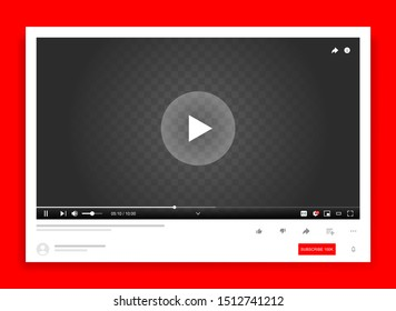 Desktop web video player, Youtube modern social media interface design template for web and mobile apps, play video online window with navigation icons. Vector illustration