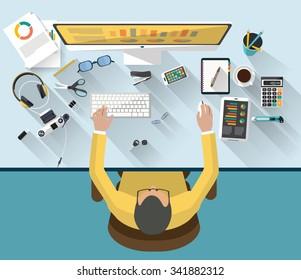 Desktop-Arbeitsplatz - flaches Design - Draufsicht
