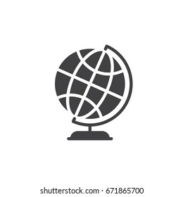 Desktop world earth globe icon vector, filled flat sign, solid pictogram isolated on white. Symbol, logo illustration. Pixel perfect graphics