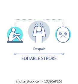 Despair concept icon. Hopelessness idea thin line illustration. Sadness emotion. Depressed mental state. Pessimism. Lack of hope and confidence. Vector isolated outline drawing. Editable stroke