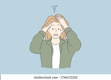 Despair, frustration, depression, mental stress concept. Stressed desperate frustrated young woman or girl covering head with hands. Negative emotions headache or migraine and bad news illustration.
