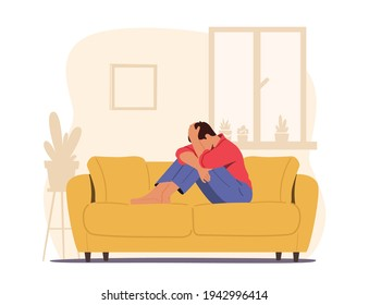 Despair, Frustration, Life Problems Concept. Young Depressed Upset Desperate Man Character Sitting on Couch Covering Face Crying. Depression, Headache Migraine Concept. Cartoon Vector Illustration