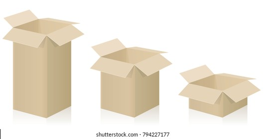 Despatch boxes - three different packing cases with open lid - vector illustration on white background.