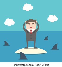 Desperate businessman standing on island in ocean among sharks. Risk, crisis and failure concept. Flat design. EPS 8 vector illustration, no transparency