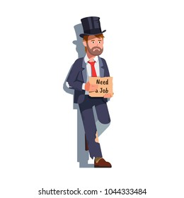 Desperate & sad former business man holding cardboard Need a Job handwritten message sign. Unemployed in business suit. Jobless man. Flat style isolated on white vector illustration