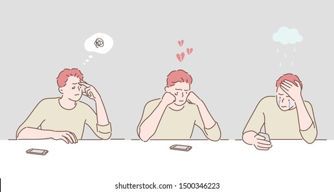Desperate sad young man looking at bad text message on his mobile phone. Broken heart. Hand drawn style vector design illustrations.