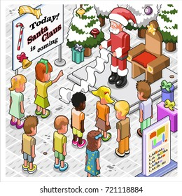 Desperate Santa Claus with huge wish list and waiting children during mall visit (isometric cartoon)