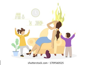 Desperate stressed mother with her kids boy and girl, vector flat illustration. Tired mom sitting in armchair holding head and children playing around her. Mom burnout.