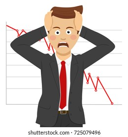 Desperate young businessman, financial crisis concept. Falling of quotations at stock exchanges