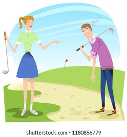 Desperated golfer with golf ball in sand trap, woman laughing at him (vector illustration)