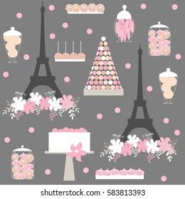 Фотообои Dessert bar with Eiffel tower, macaroons and cake. Birthday sweet table. Vector pattern.