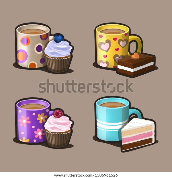 Dessert and coffee icon set. Vector Illustration