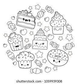 dessert doodle. Cute cartoons in kawaii style. Coloring book anti-stress