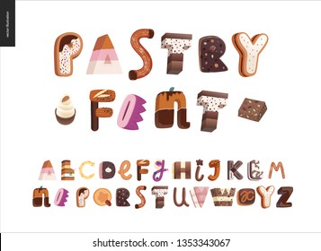 Dessert font - modern flat vector concept digital illustration of temptation font, sweet lettering. Caramel, toffee, biscuit, waffle, cookie, cream and chocolate letters