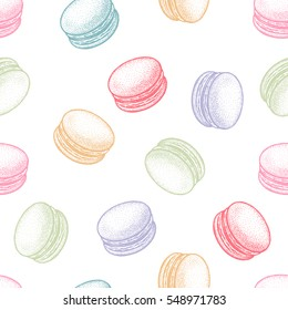 Dessert french macaroons or macaron. Seamless vector pattern for paper, wrapping, fabrics. Vintage illustration art pastel colors on white background.