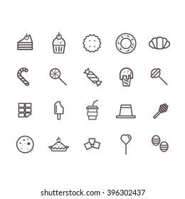 Dessert icon set vector.