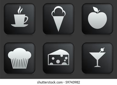 Dessert Icons on Square Black Button Collection Original Illustration