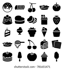 Dessert icons. set of 25 editable filled dessert icons such as cherry, mulberry, apple, honey, cookies, ice cream on stick, ice cream, ice cream in can, cake, piece of cake