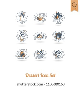Dessert Icons in Simple, Minimalistic and Modern Flat Design Style for Candy Shop. Clean Work, Vector. Retro Color