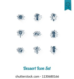 Dessert Icons in Simple, Minimalistic and Modern Flat Design Style for Candy Shop. Clean Work, Vector. Long Shadow