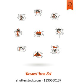 Dessert Icons in Simple, Minimalistic and Modern Flat Design Style for Candy Shop. Clean Work. Vector