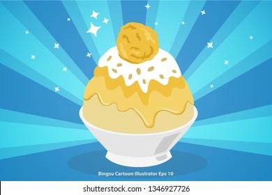Dessert Korean or Bingsu Durian with ice cream cartoon illustrator eps 10