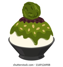 Dessert Korean or Bingsu  Red Bean Green Tea
