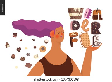 Dessert lettering - Wonderful - modern flat vector concept digital illustration of temptation font, sweet lettering and girls. Caramel, toffee, biscuit, waffle, cookie, cream and chocolate letters