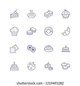 Dessert line icon. Set of line icons on white background. Cake piece, chocolate bun, cookie. Bakery concept. Vector can be used for topics like food, unhealthy eating, confectionary