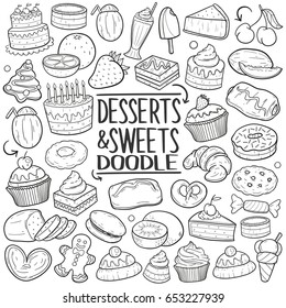 Dessert & Sweets Food Doodle Icons Hand Made