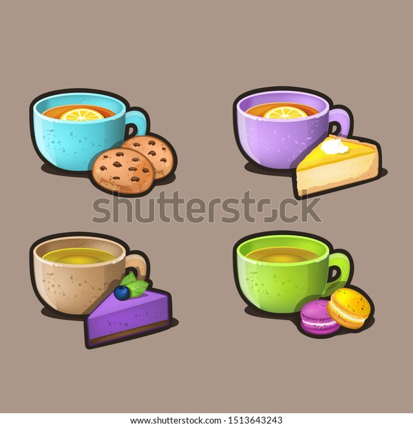 Dessert and tea icon set. Vector Illustration