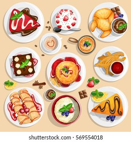 Dessert top view. Collection of different dessert foods in high detailed coloring style