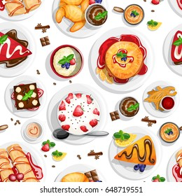Dessert top view. Seamless pattern with different dessert foods in high detailed coloring style on white background