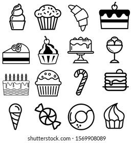 Dessert vector icons set. bakery illustration symbol collection. bakery products sign. cake logo.