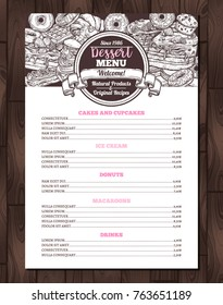 Dessert vector menu with sketch collection of desserts and sweet bakery. Trendy design with hand drawn cake, cupcake, donuts, macaroons, muffins, waffle, croissant