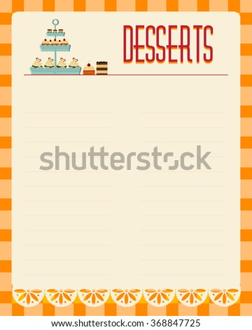 Desserts Blank Menu Template Retro Style Stock Vector Royalty Free