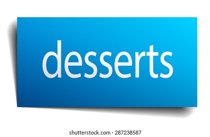desserts blue paper sign on white background